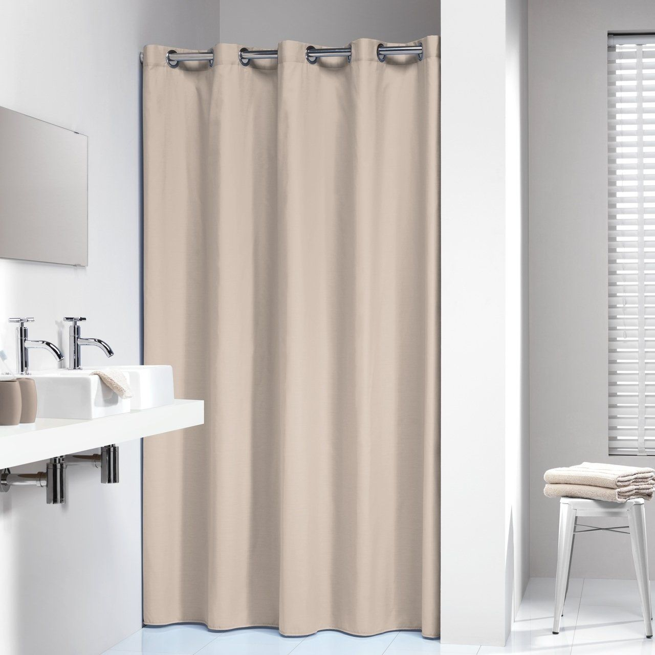 Sealskin Extra Long Hookless Shower Curtain 78 X 72 Inch Coloris Beige Cotton Brown Modern Shower Curtains Hookless Shower Curtain Long Shower Curtains
