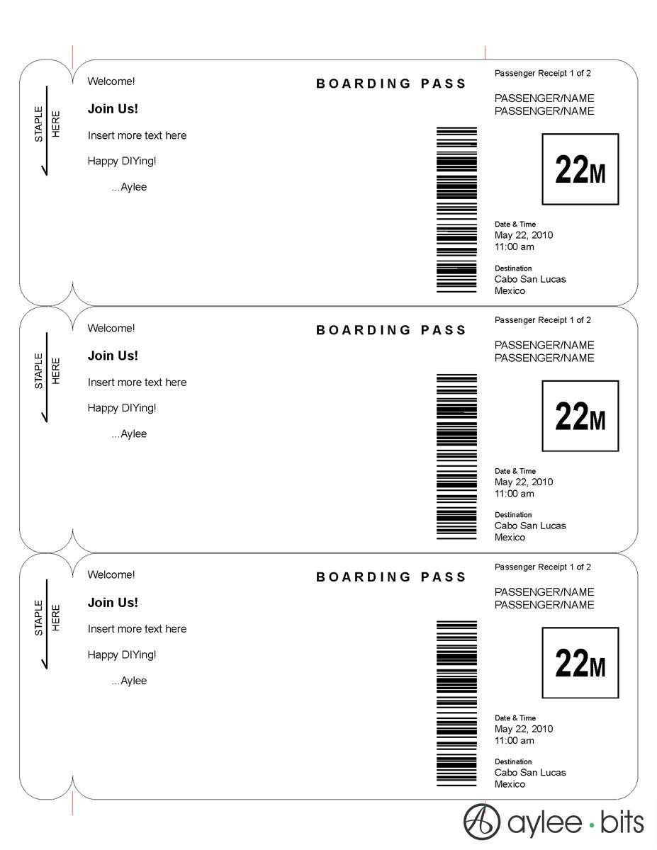 Boarding pass invitation template by AyleeBits.com | lucas 5th ...