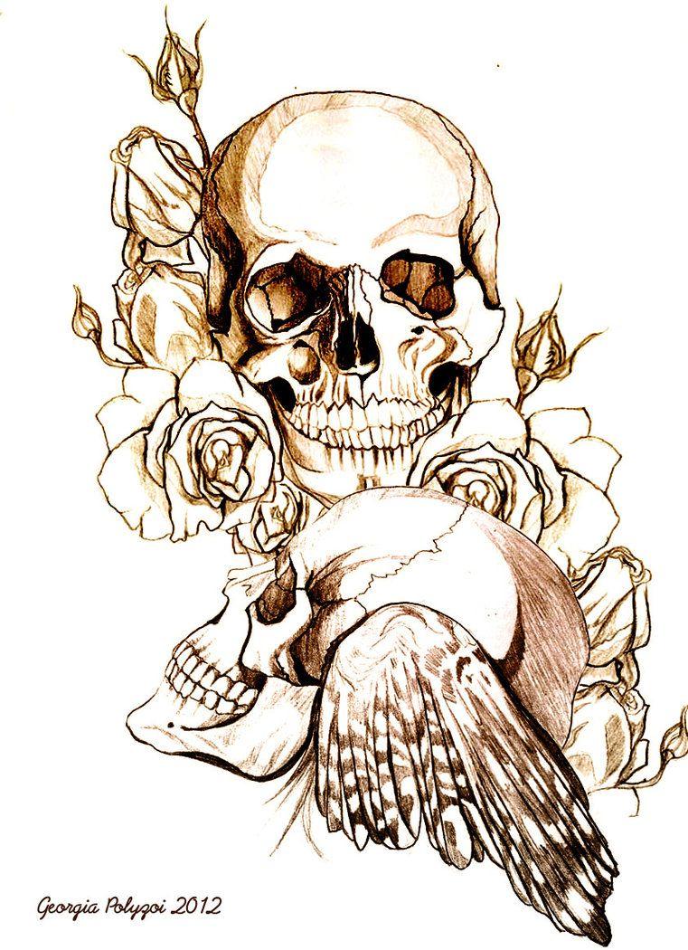 DeviantART More Like RAVEN And SKULL Tattoo Design OUTLINE