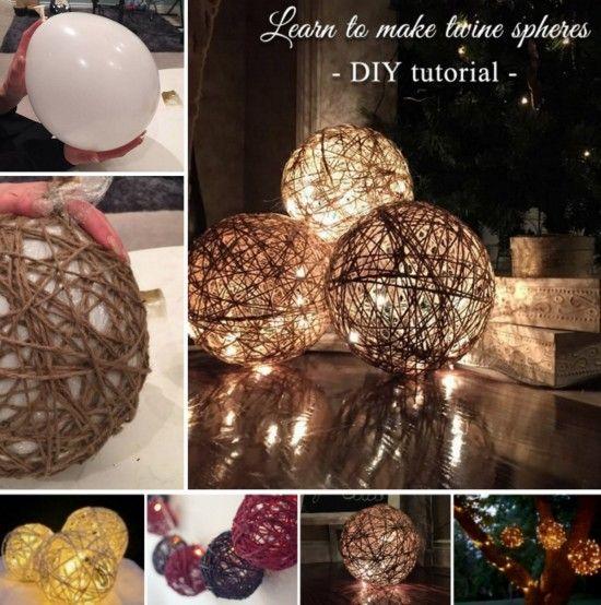 Twine ball lanterns christmas lights twine and tutorials twine ball christmas lights tutorial mozeypictures Image collections