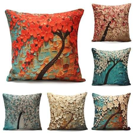 Floral Cotton Linen Throw Pillow Case Slip Cushion Cover Sofa Bed Home Decor 18/""