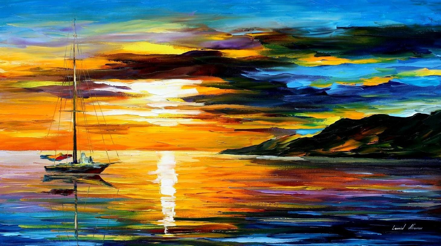 SAILING WITH THE SUN 2 Palette Knife Oil Painting On Canvas By Leonid Afremov