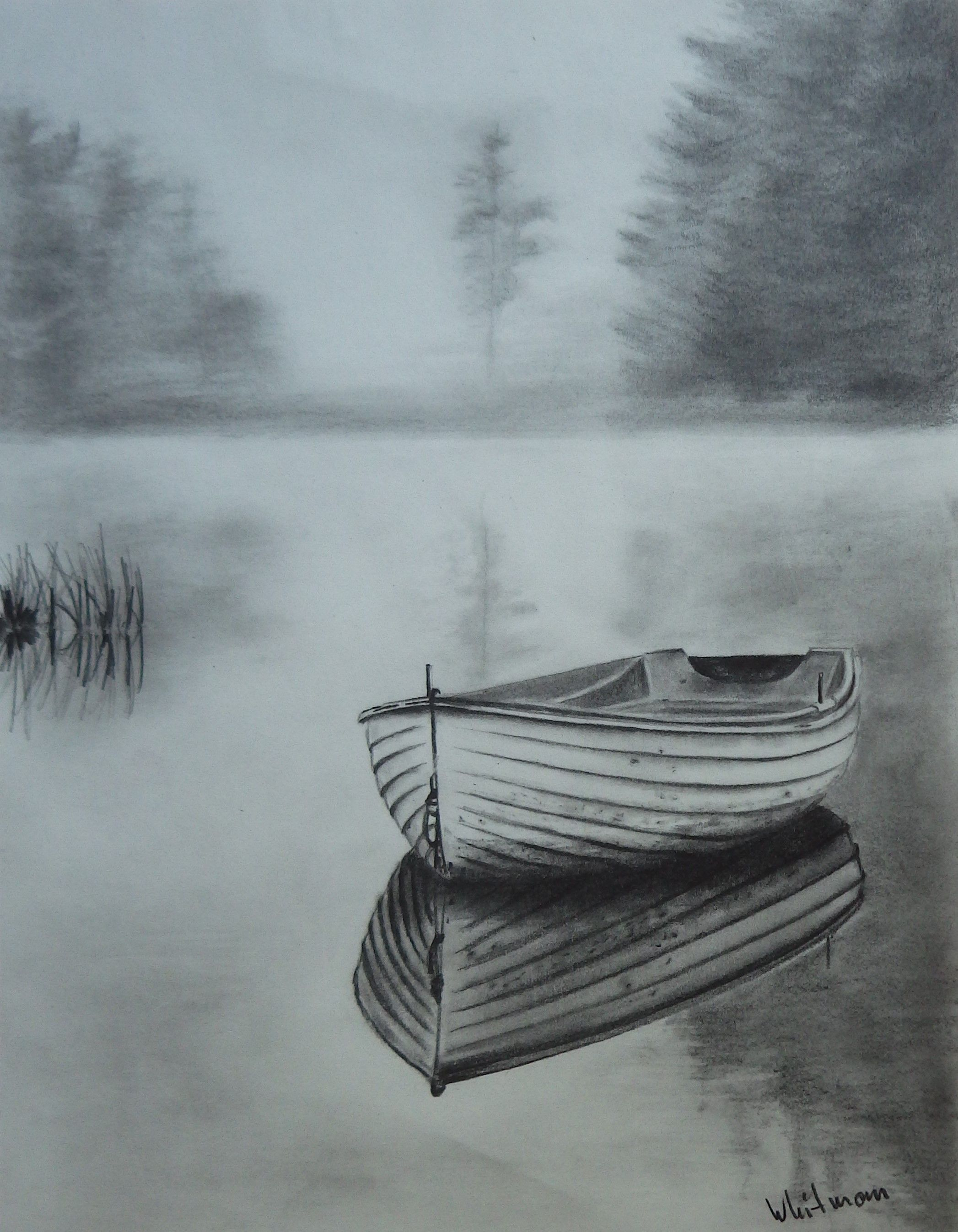 Misty Row Boat Sketch Water Reflections Original Art Graphite