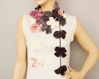 Crochet Scarf Flower Scarf Crochet necklace Colorful by scarfnurlu