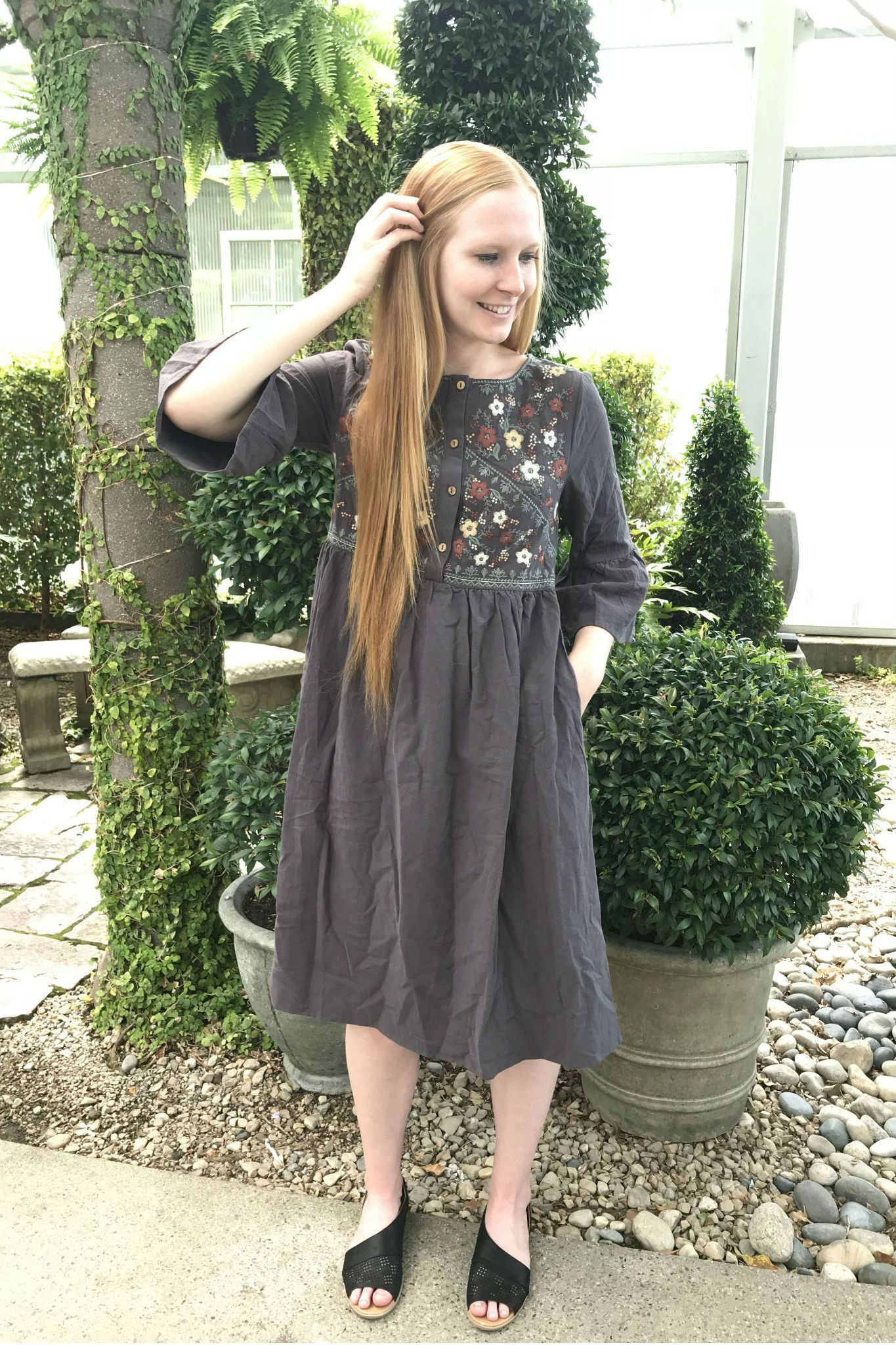 c987e77c1e3 ... embroidered dress, 3/4 length sleeve dress, nursing friendly dress, breastfeeding  friendly dress, dress with buttons, breastfeeding dress, modest ...