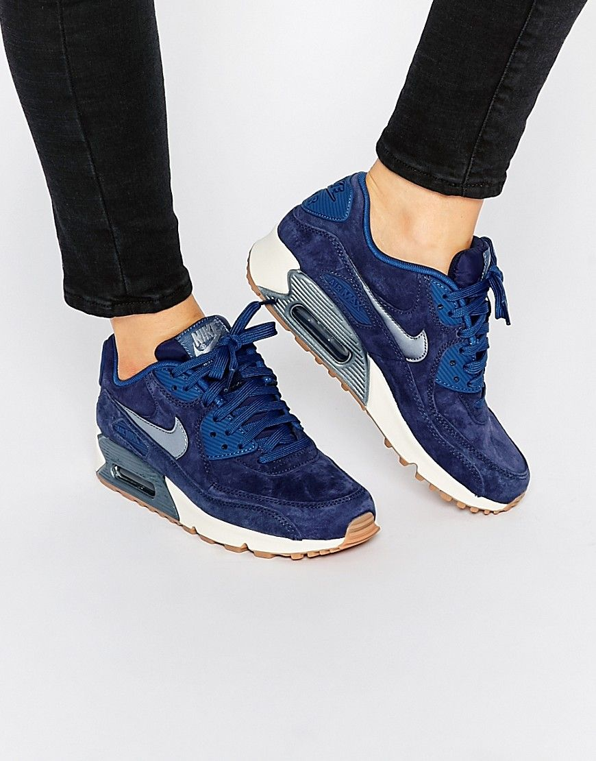 4e8c58f4e638 Image 1 of Nike Midnight Navy Air Max 90 PRM Suede Trainers