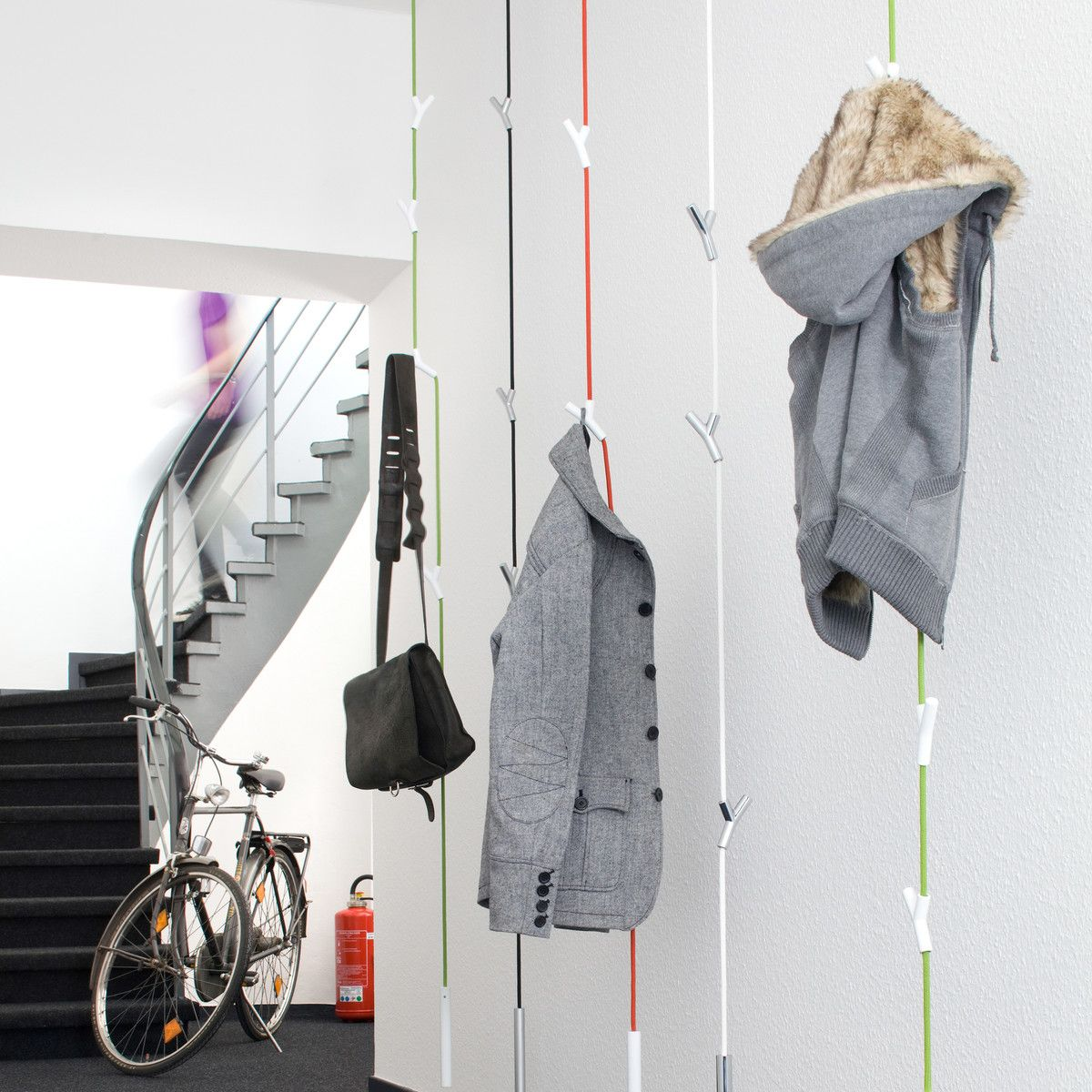 Wohndesign Flur: Wardrope Garderobenseil, Grün / Weiß