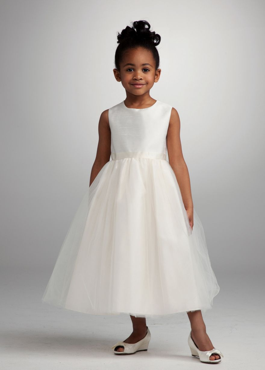 d9f1d7ac9da Long Ballgown Tank Communion Dress – David s Bridal. Flower girl dress.  Could add a blue ribbon to it….. David S BridalBridal …