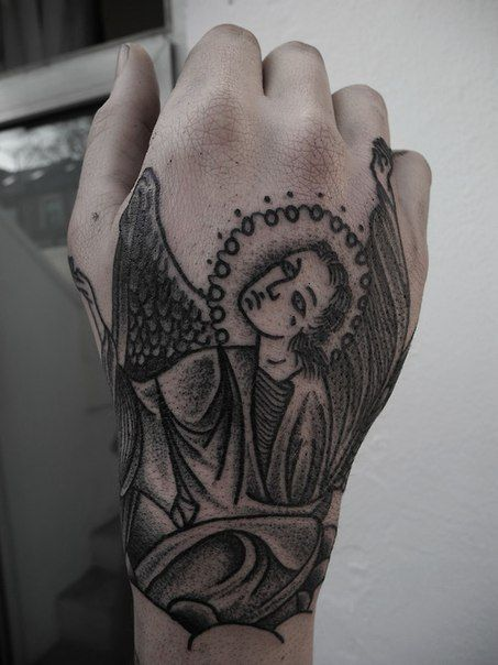 Hand Religious Tattoo Angel Tattoo On Hand Beautiful Tattoos