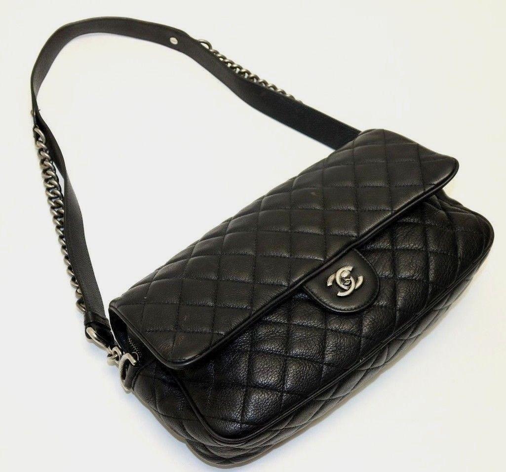 5f9943ff33c001 Chanel Quilted Deerskin Vintage East West Flap Silver Hardware Black Bag
