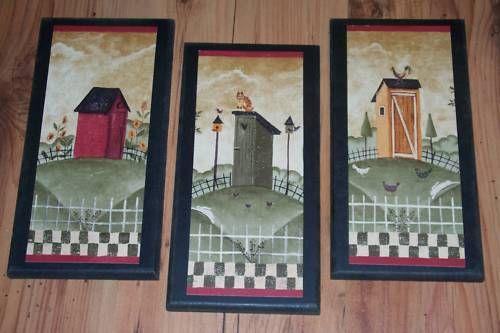 3 Rustic Outhouses Bath Wall Decor Country Pictures