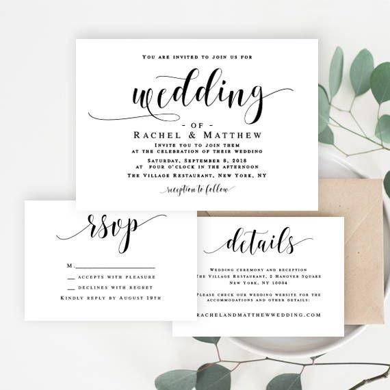 Wedding invitation editable template Wedding invitation | Cute ...