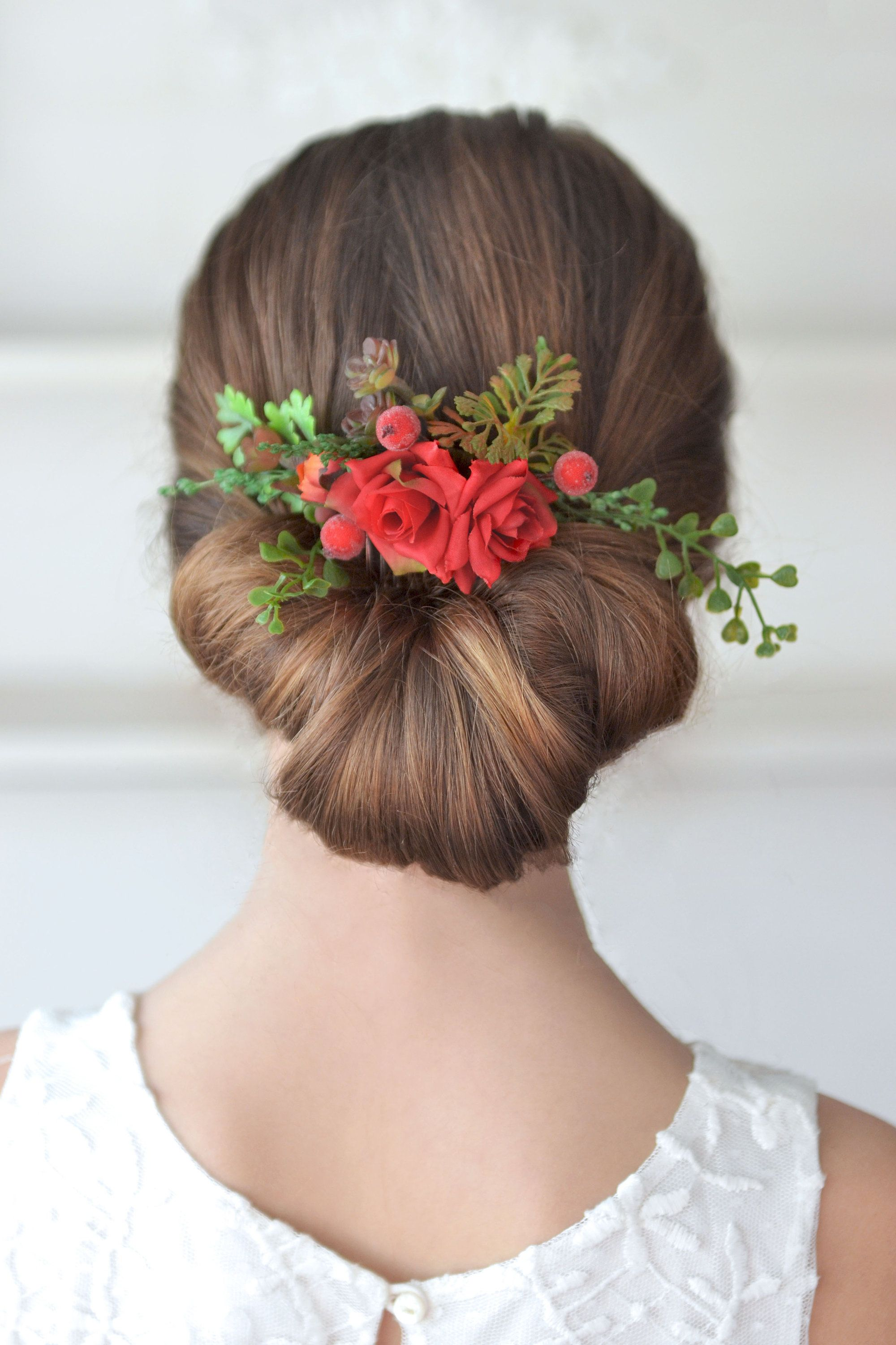 red roses hair comb succulent flower comb red headpiece