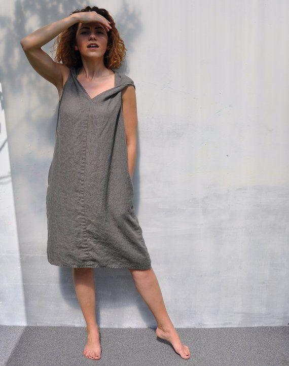 Linen dress. Long dress. Fitting flare dress. Maternity