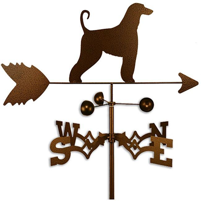 Afghan Hound Dog Weathervane (Roof Mount), Silver steel, Outdoor Décor