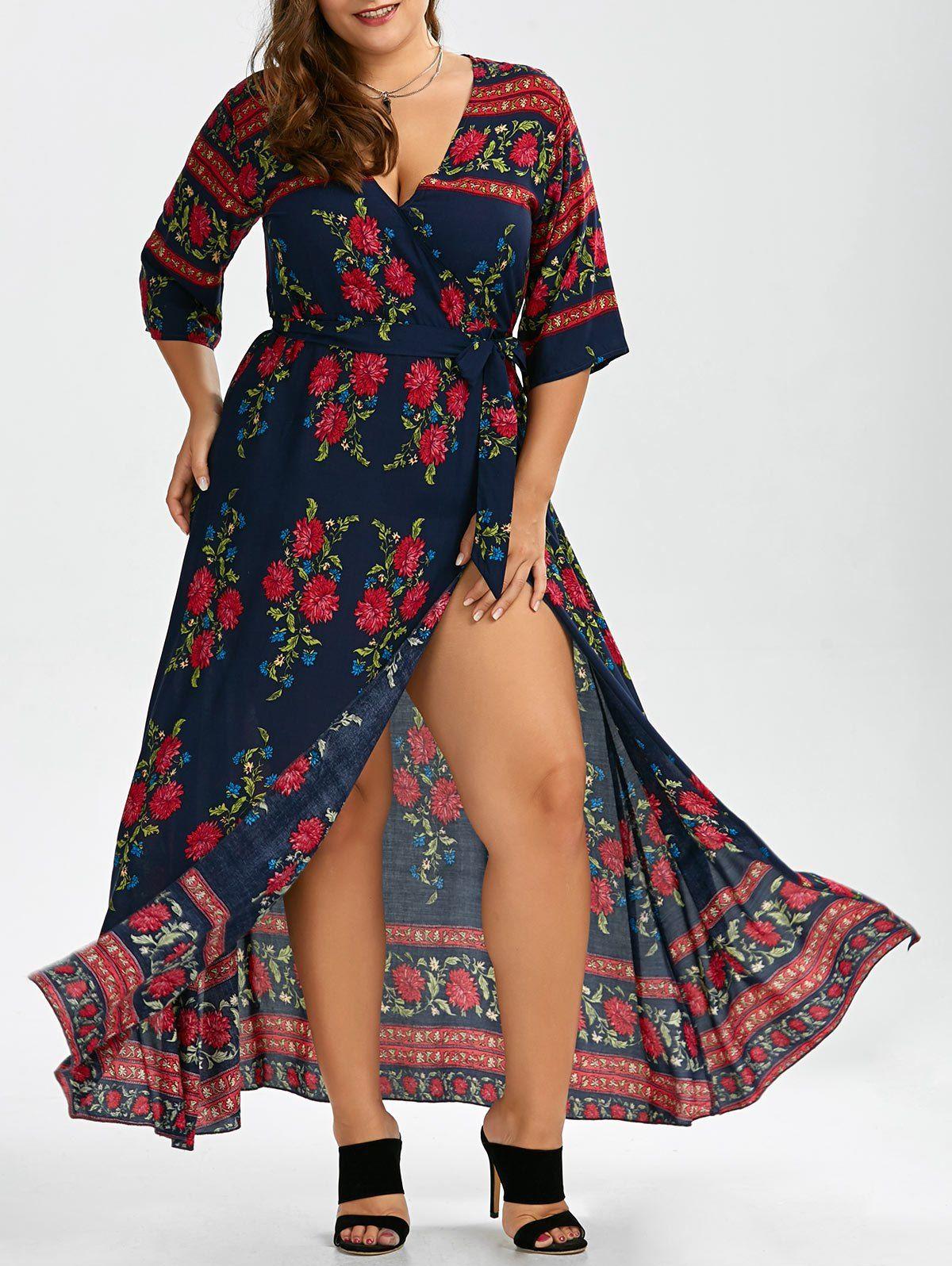 Plus size floral floor length v neck dress v neck dress chic and