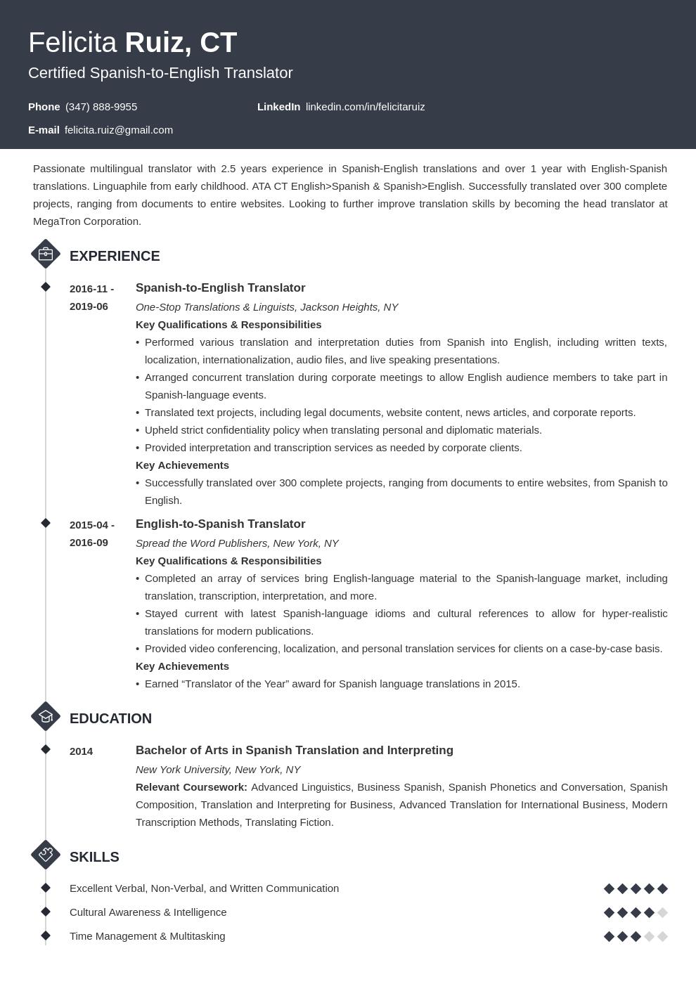 Translator Resume Example Template Diamond Resume Examples Job Resume Examples Dental Hygienist Resume