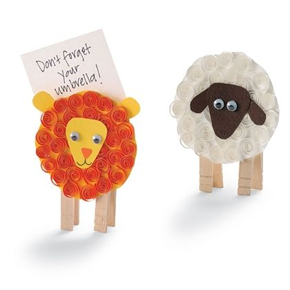 Lion And Lamb Note Holders Curl Paper Around Pencil Glue To