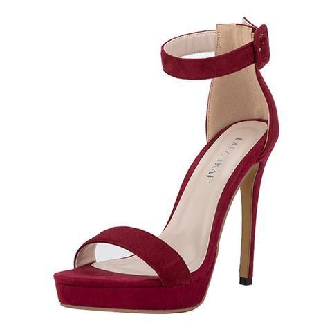f5710ef475c Flock Elegant Open Toe Buckle Strap High Heel- Black