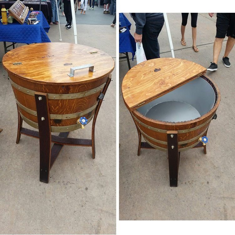 Half Full Barrel Beverage Cooler Wine Barrel Table Barrel