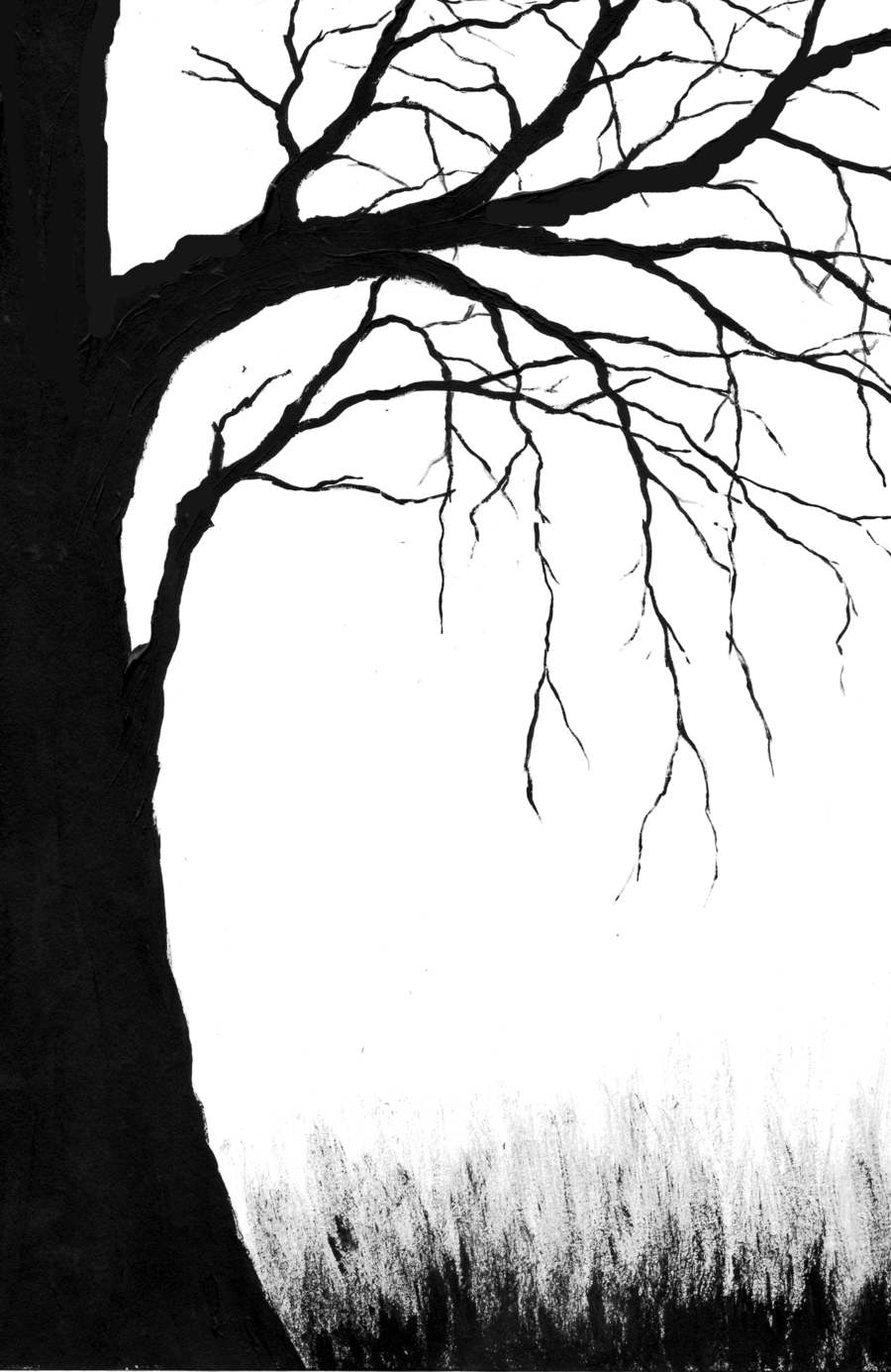 Creepy Tree. Tree trunk drawing, Tree outline, Spooky trees