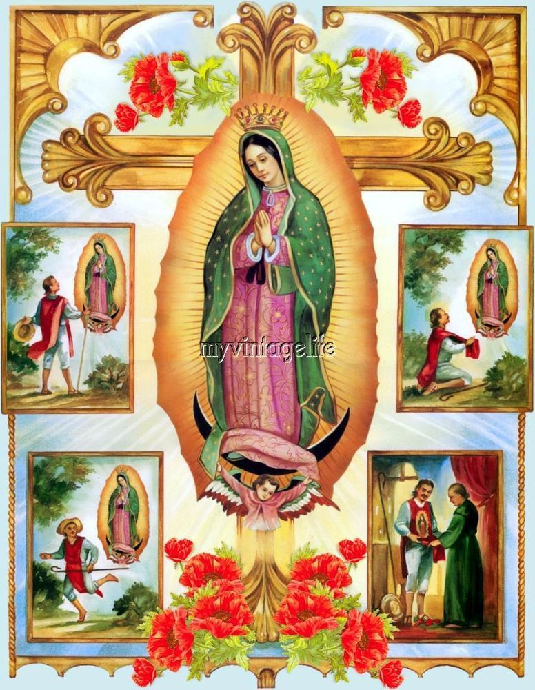 Madonna Lady Of Guadalupe Virgin Mary Quilting Fabric Block Virgin