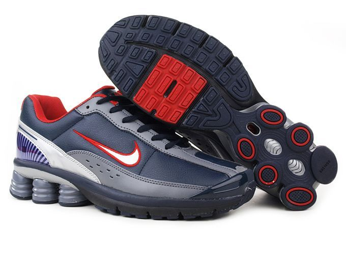 Nike Shox R6 Men Shoes - Red Dark Blue Grey which is wonderful craftsmanship and superior quality. Supported by the excellent combination of six columns nike shox technology at the heel, you will have high resilient to protect your feet and free with relax footstrike motion with the benefit of ultimate cushion.
