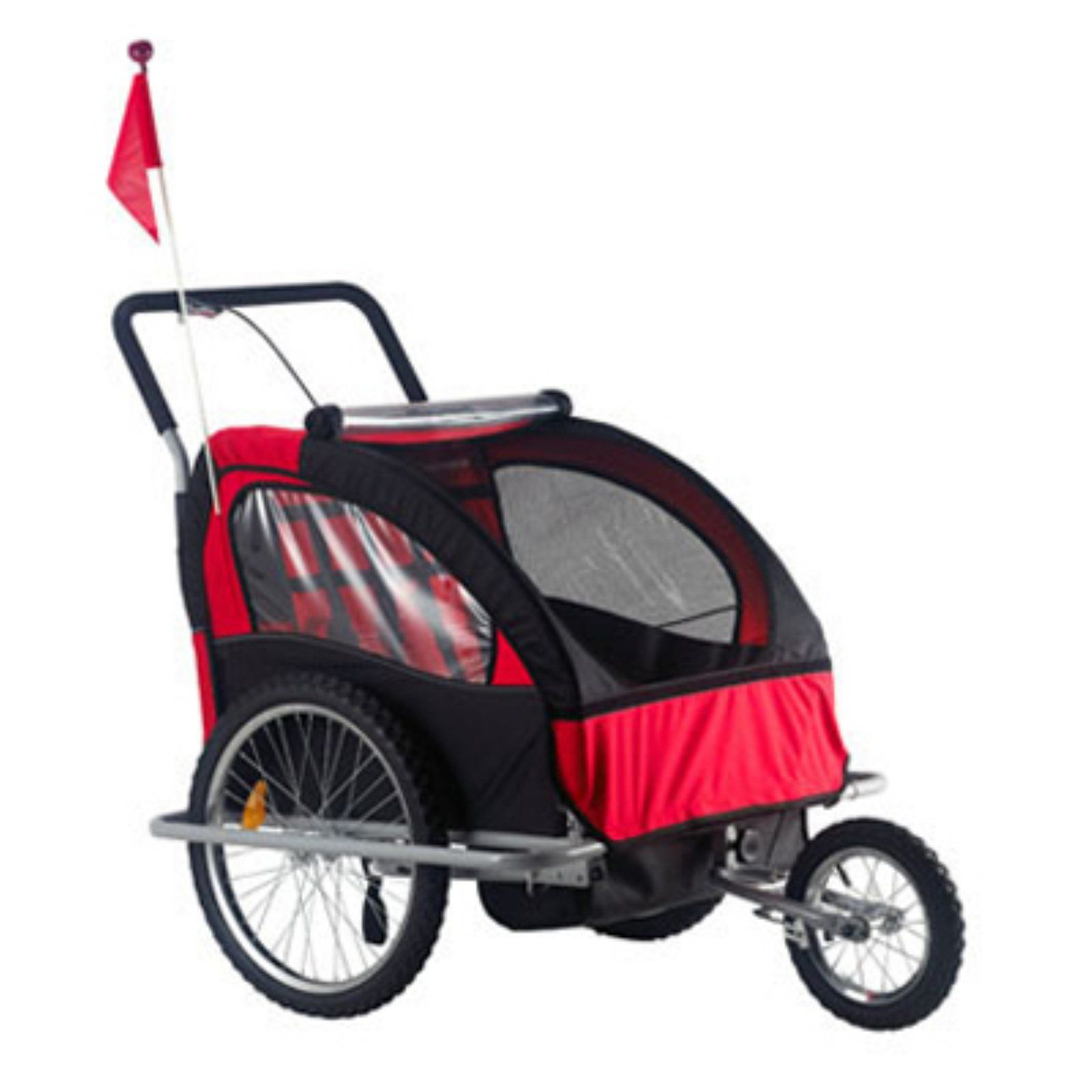 Aosom 2 in 1 Child Bike Trailer and Stroller Red Child