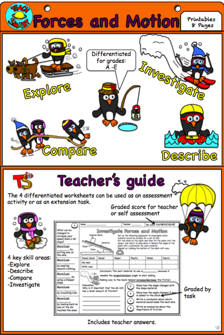 Forces and Motion Interactive Notebook : Worksheets ...