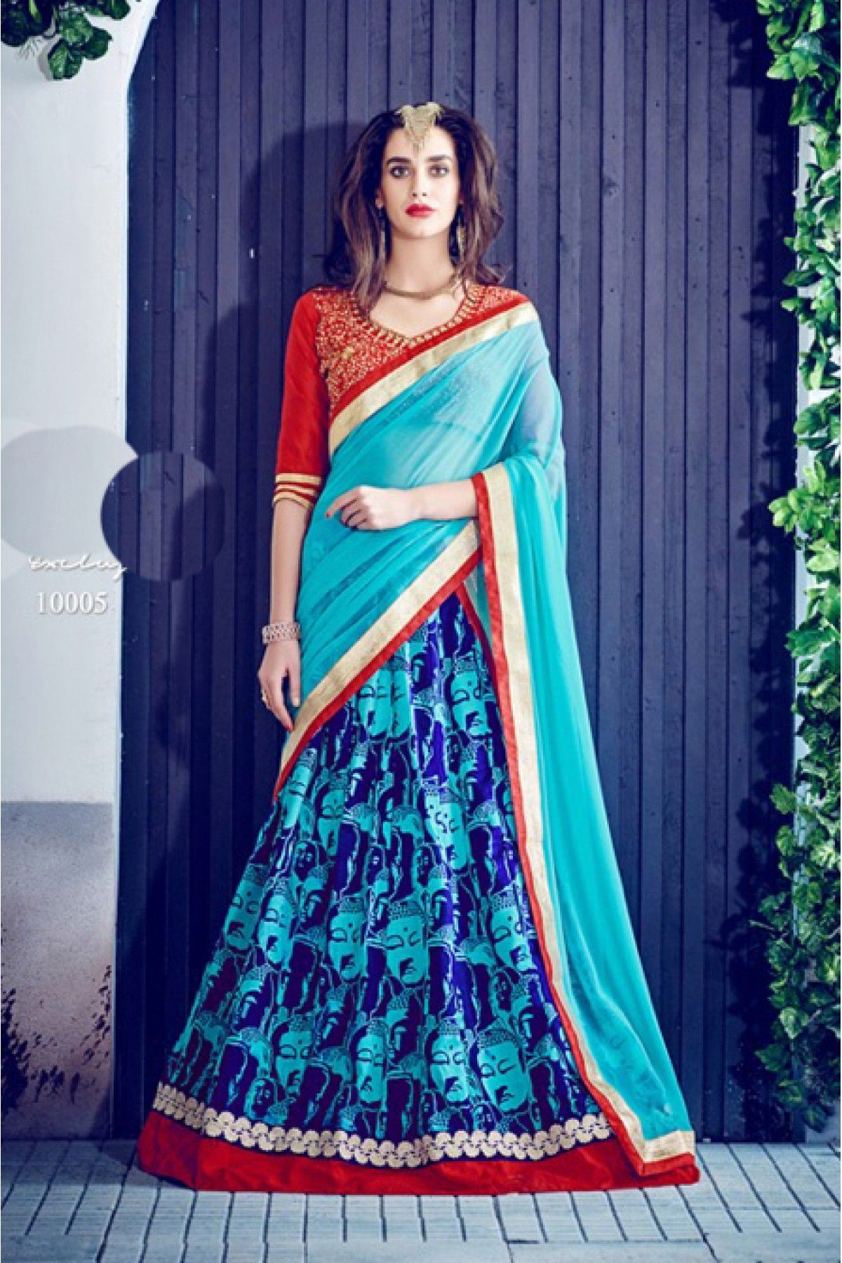 064bd7c682 Blue Colour Banglori Silk Fabric A Line Flower Printed Lehenga Choli Comes  With Matching Blouse and Dupatta. This Lehenga Choli Is Crafted With Lace  Work ...