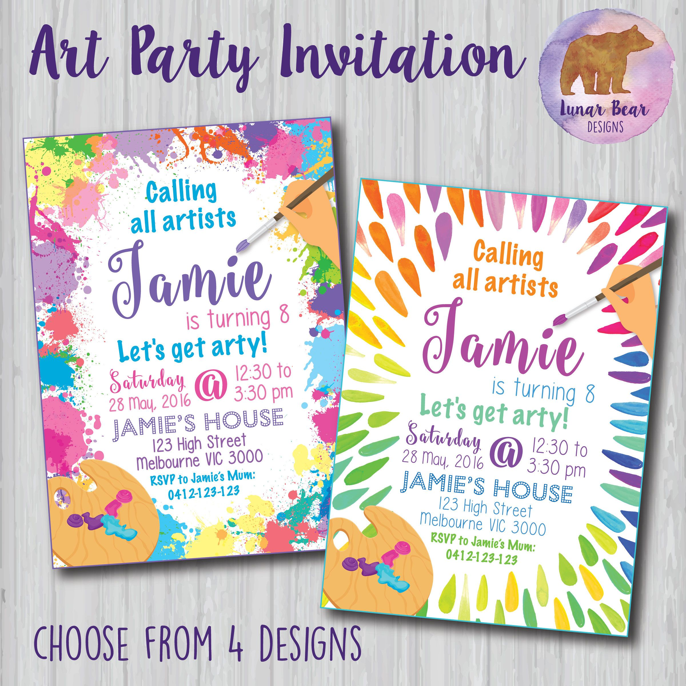 Art / Painting Party Invitation  * choose from 4 colourful, paint-splatter themed designs * perfect for art, painting or craft themed parties  * available in two sizes: 4x6 or 5x7 (custom sizes may be available upon request) * all text in the sample pictures can be changed if you prefer different wording  Please note that this listing is for a DIGITAL FILE that has been personalised with your invitation details. The file itself is NOT editable. You will be able to use the personalised fi...