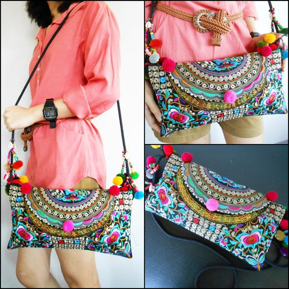 Colorful Hmong Bag Shoulder Bag Crossbody Bag by KhumWiengKham, $18.88
