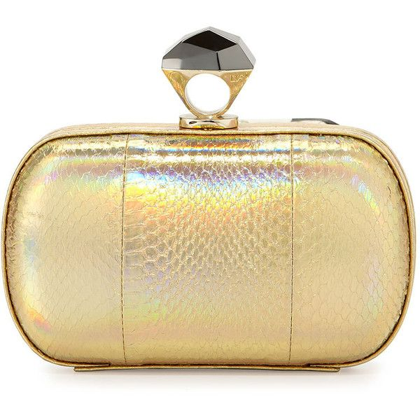 6a54eb81cfa Diane von Furstenberg Powerstone Minaudiere Evening Clutch ( 425) ❤ liked  on Polyvore featuring bags, handbags, clutches, bolsas, borse, hologram  gold, ...