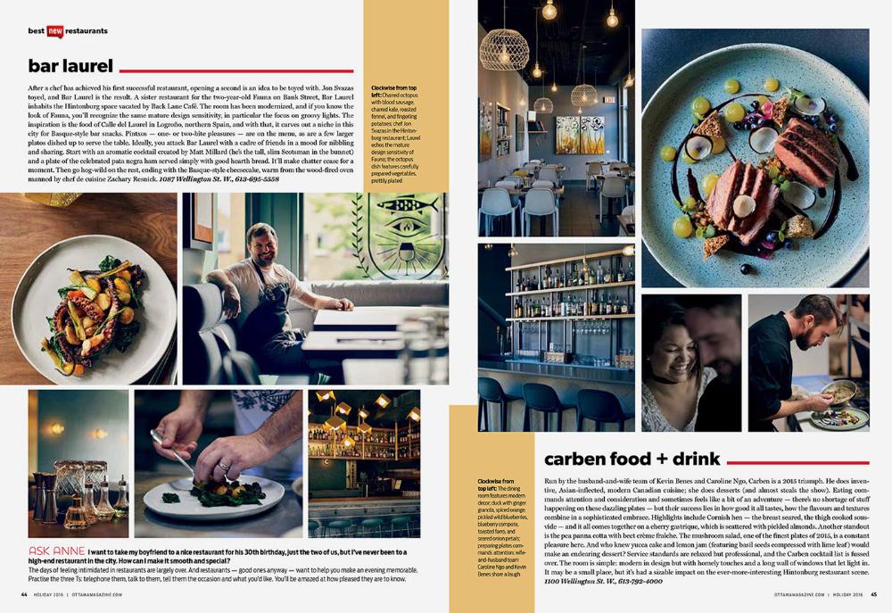Ottawa magazine Top 10 New Restaurants on Behance in