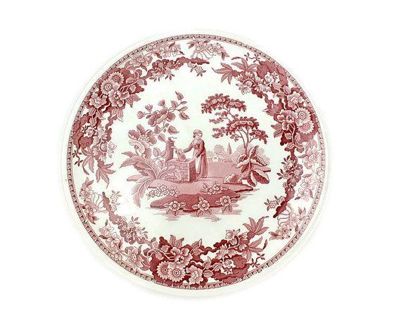 Spode Cake Plate / Cheese Platter / Red Transferware ♥   Shop PeriodElegance\u0027s Fine China   sc 1 st  Pinterest & Spode Cake Plate / Cheese Platter / Red Transferware ♥   Shop ...