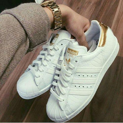 white + gold sneakers #adidas   Adidas