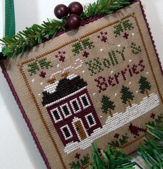 Finished Holly Berries Home Cross Stitch by SnowBerryNeedleArts