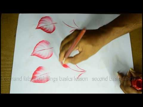 Basic Brushstrokes Types With 6 Telugu Free Hand Fabric Painting