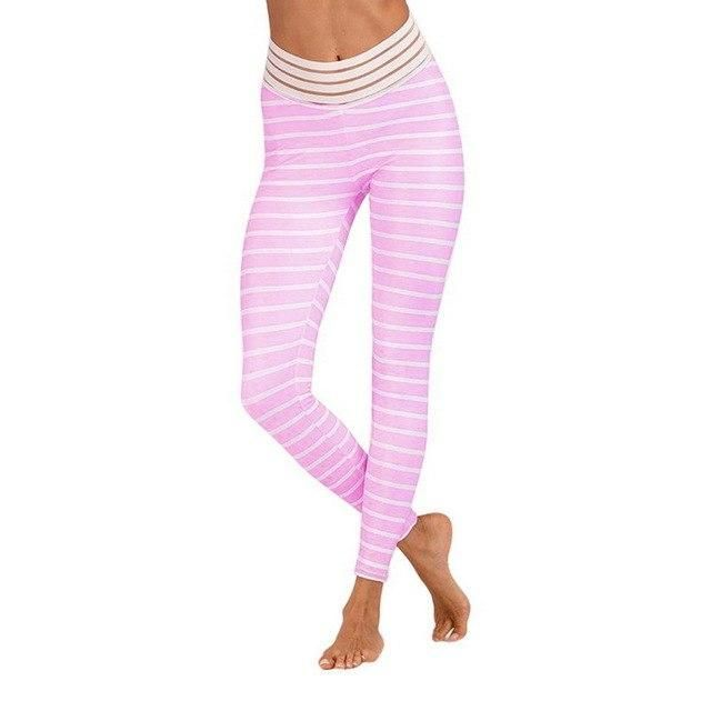 Women'S Yoga Pants Printed Elastic Waist Leggings High Waist Women Sports Gym Running Pants Breathable Push Up Leggings