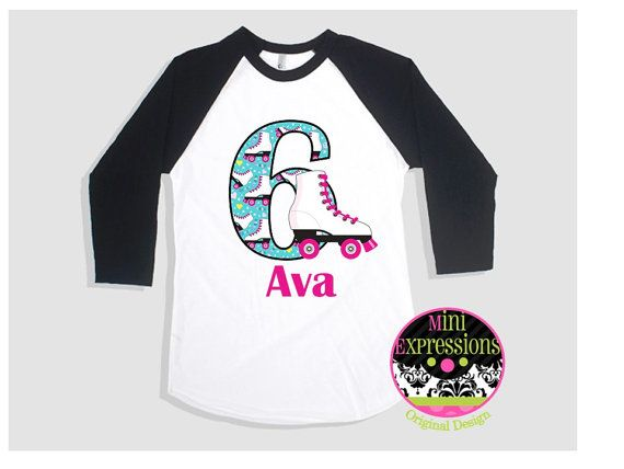 Roller Skate Birthday Raglan shirt Personalized by MiniExpressions