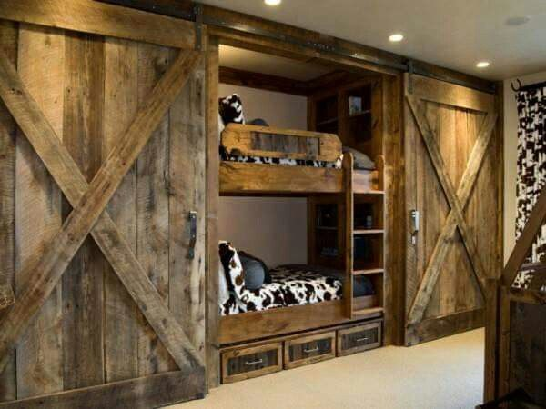 Bunkbeds Behind Barn Doors