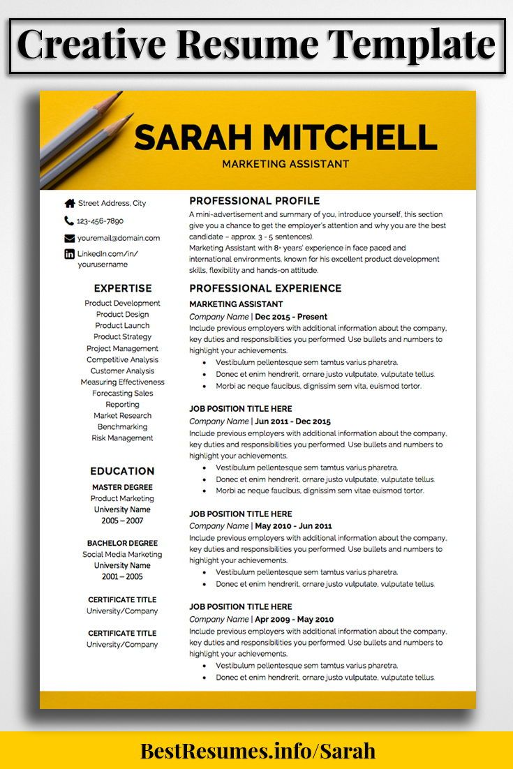 Resume Template Sarah Mitchell  Perfect Resume Job Resume And