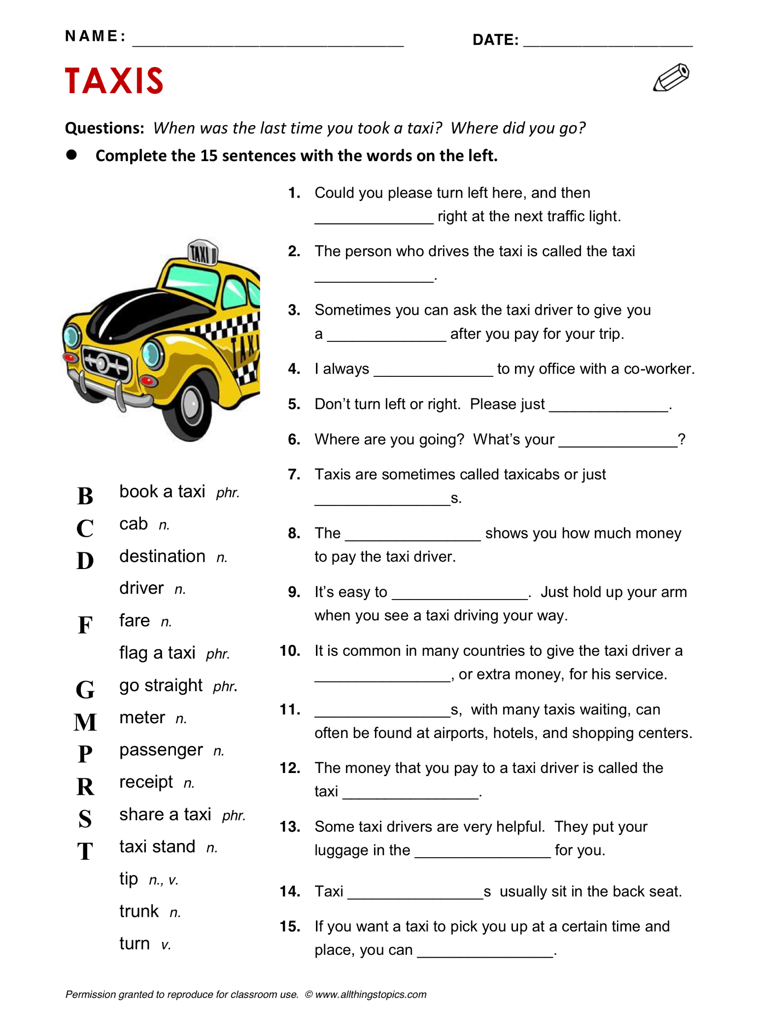 Taxis Taxi Vocabulary Esl English Phrases
