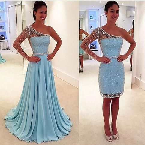 Blue See Through One Shoulder Long Sleeve Two Pieces Long Prom ...