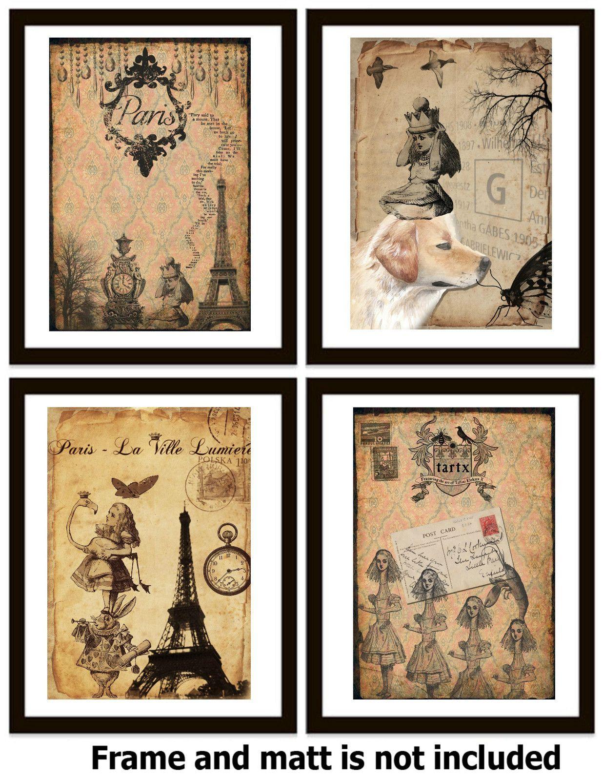 4 vintage old alice in wonderland ART PRINT - Kids ...