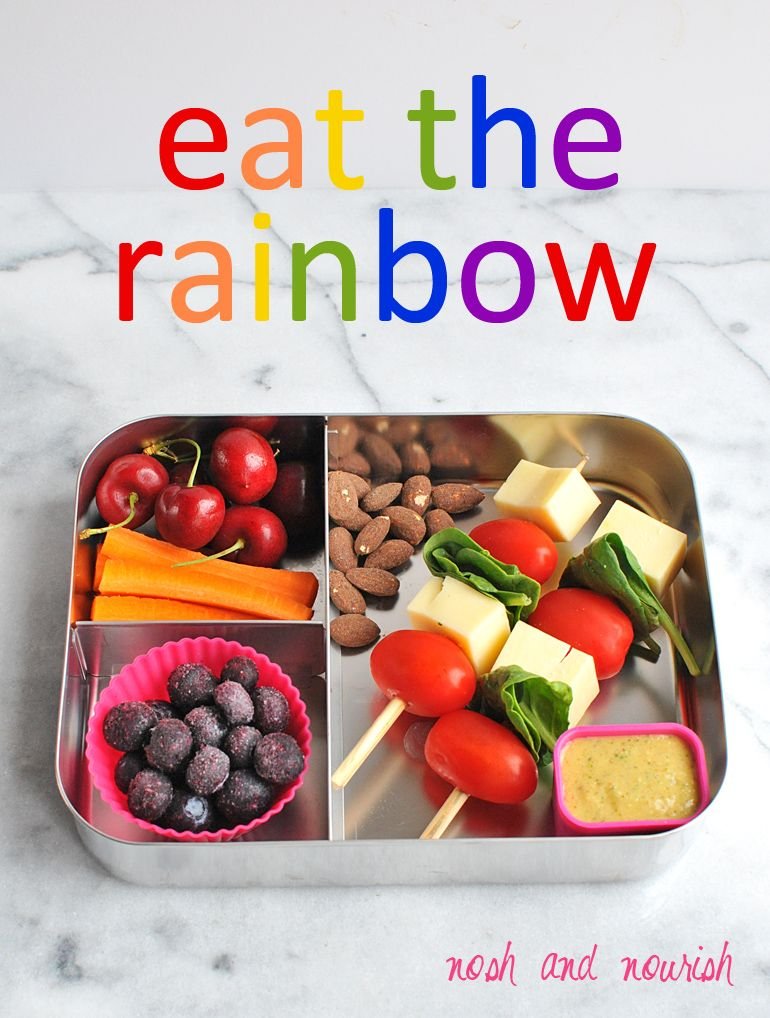 Easy Healthy Lunchbox Idea --- eat the rainbow! // via Nosh and Nourish #vegetarian #lovemysilk