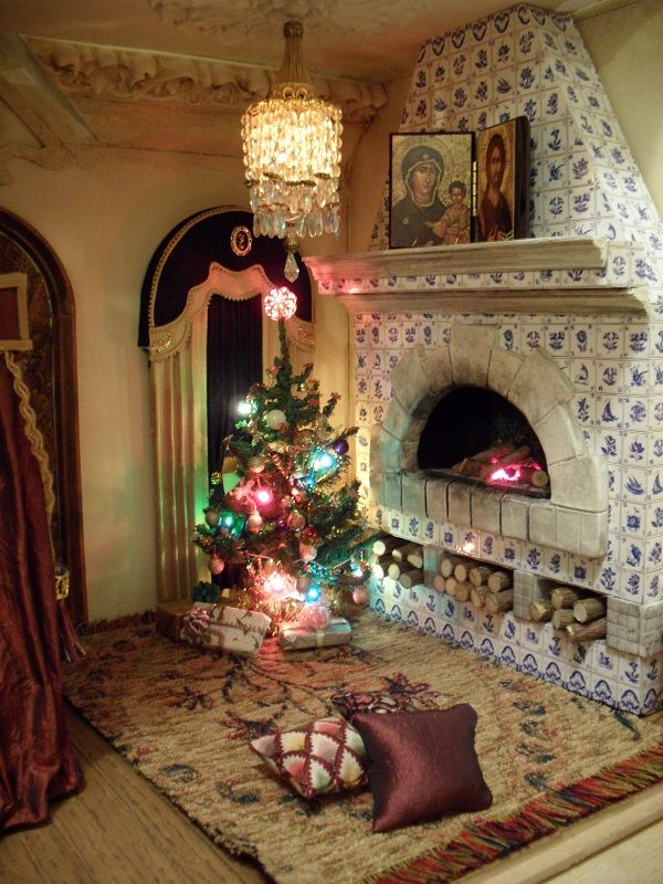 Fireplace in Russian lodge