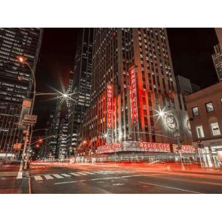 New York city stret in night Canvas Art - Assaf Frank (18 x 24)