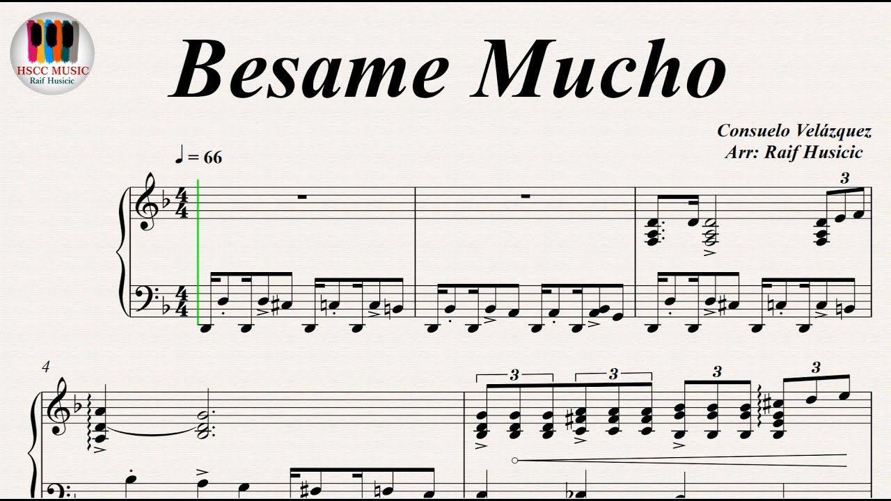 Besame Mucho Consuelo Velazquez Piano Youtube Piano Sheet