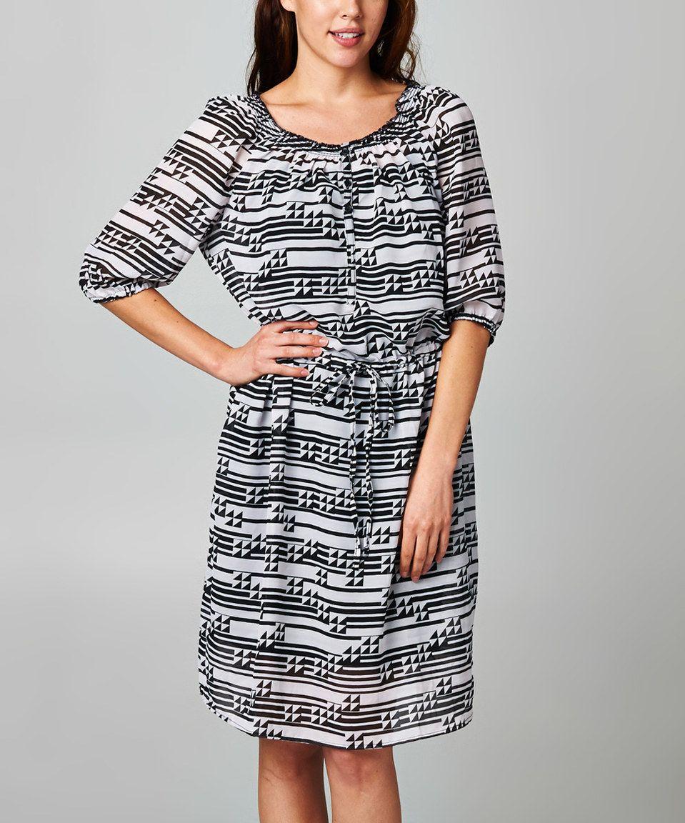 Love this Dynasty Fashions Black & White Triangle Blouson Dress by Dynasty Fashions on #zulily! #zulilyfinds